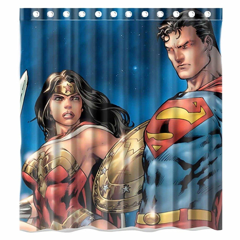 Custom Cartoons Justice League Superman And Wonder Woman Pattern Waterproof Bathroom Shower Curtain 100 Polyester