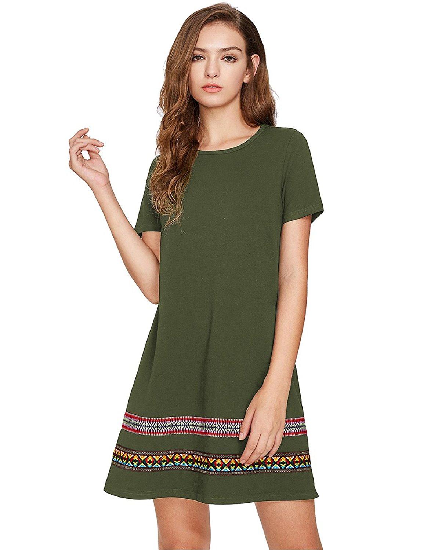 4c299549 Get Quotations · Romwe Women's Loose Short Sleeve Shirt Casual Tunic Dress  Swing T-Shirt Dress