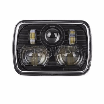 "Black/Chrome Square 5""x7"" LED Headlight Truck Car Replacement Driving Light Rectangular LED Head Lamp For Jeep Cherokee"