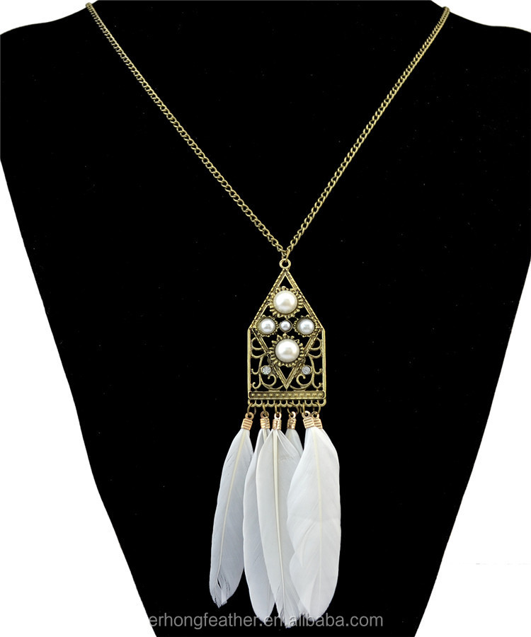The European and American fashion Bohemian national style ornaments long feather sweater necklace