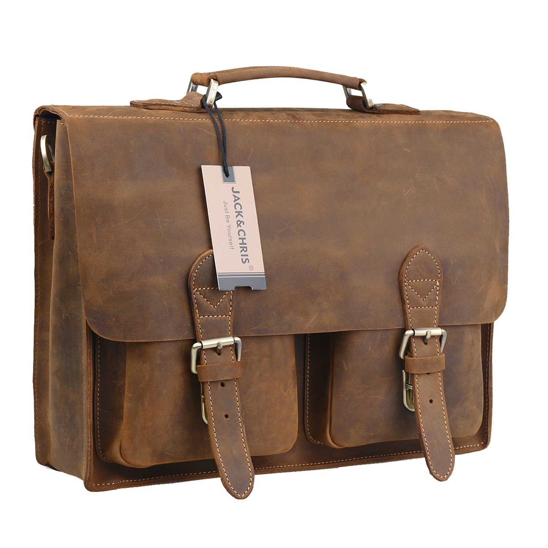 a237298a4077 Get Quotations · Jack Chris New Men s Lawyer Briefcase Laptop Bag Leather  Messenger Bag ...
