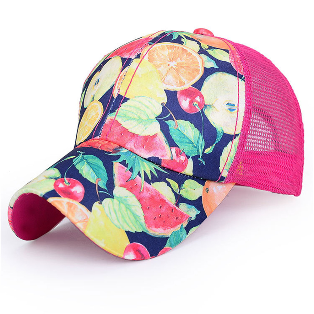 2015 New Summer Style Snapback Fruit Pattern Baseball Cap Womens Casual Outdoor Sunscreen Mesh Cotton Breathable Adjustable Hat