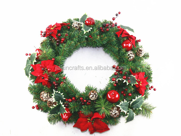 60cm high quality artificial christmas wreath with red berry and fruit