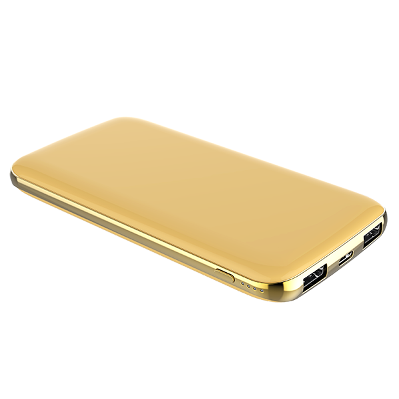 popular thin 5V 2A 10000mAh micro usb golden color power bank