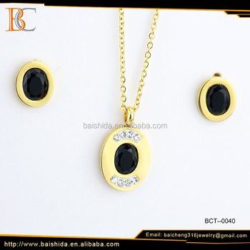 Hot sale high quality simple design charm necklace 18K gold plated stainless steel charm necklace , Wedding jewelry set