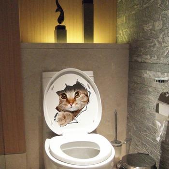 3d Katten Muursticker Wc Stickers Gat View Vivid Honden Badkamer ...