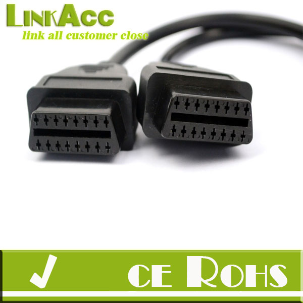 linkacc js-79 30cm OBD2 OBD II Splitter Extension Y J1962 Cable Male to Dual Female
