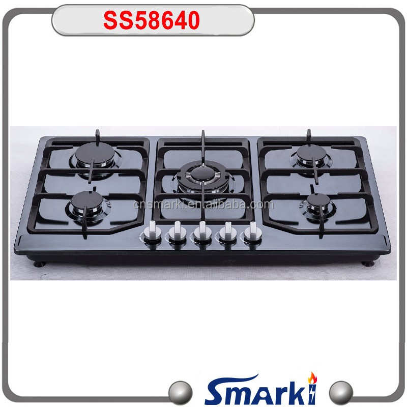 Cast iron pan support SUS201/SUS403 5 burner built in Gas Hob SS58640 with FFD safety device option