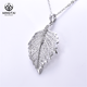 925 silver cubic zirconia white gold plated leaf necklace