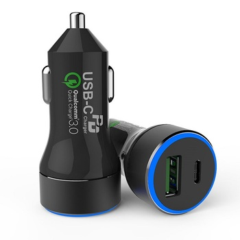 2019 New arrive Qualcomm Quick type C car Charger with QC 3.0 Fast Charging Car Charger