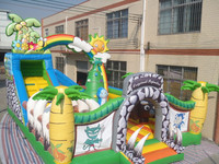 OEM inflatable jungle play land, inflatable dino bouncer for kids