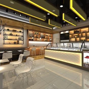 Shopping Mall Bar Counter Furniture 3d Interior Coffee Shop Design ...