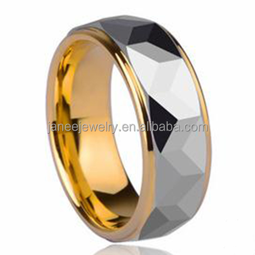 Wholesale Jewelry 8mm Step Edges Faceted Center 18K Gold Plated Tungsten Rings for Men Wedding Engagement