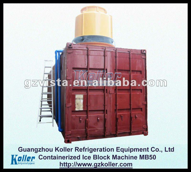 5T container ice block machine with cold room and crane system