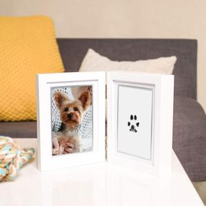 2019 Hot sale Amazon Dog or Cat Paw Print Pet Keepsake Photo Frame With Pet Pawprint Imprint clay Kit perfect gift