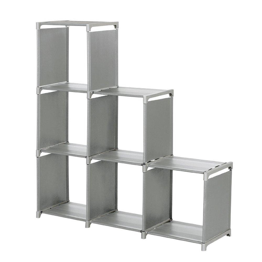 Storage Cube Organizer, Sincelee 3-tier Storage Cube Closet Organizer Shelf 6-cube Storage Cabinet Bookcase Space-Saving Cube Storage Unit (Grey)