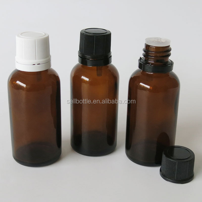 Amber medicated oil glass bottle for olive oil cosmetic package 30ml wholesale