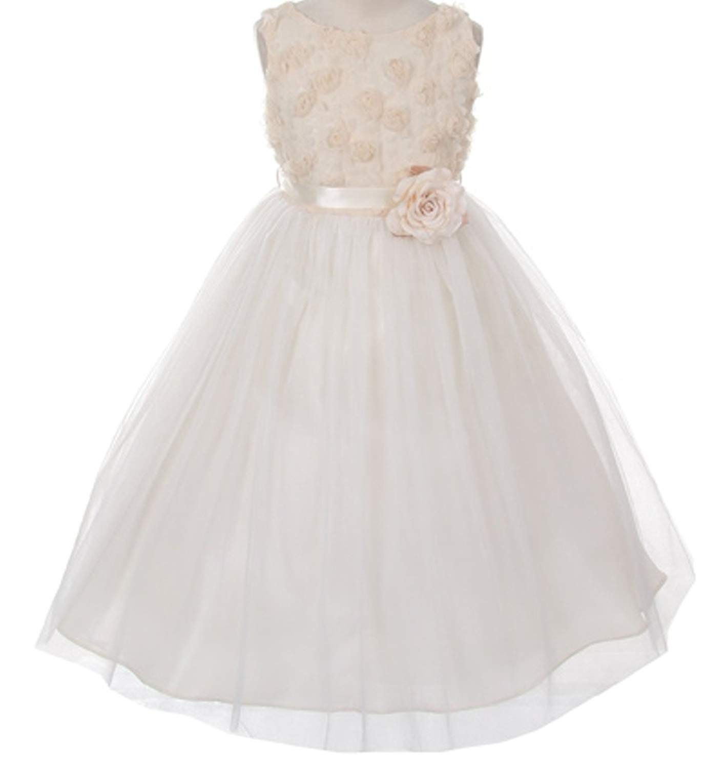 cbba1a3ce Get Quotations · AkiDress Tulle and Mesh Flower Bodice Flower Girl Dress  for Little Girl
