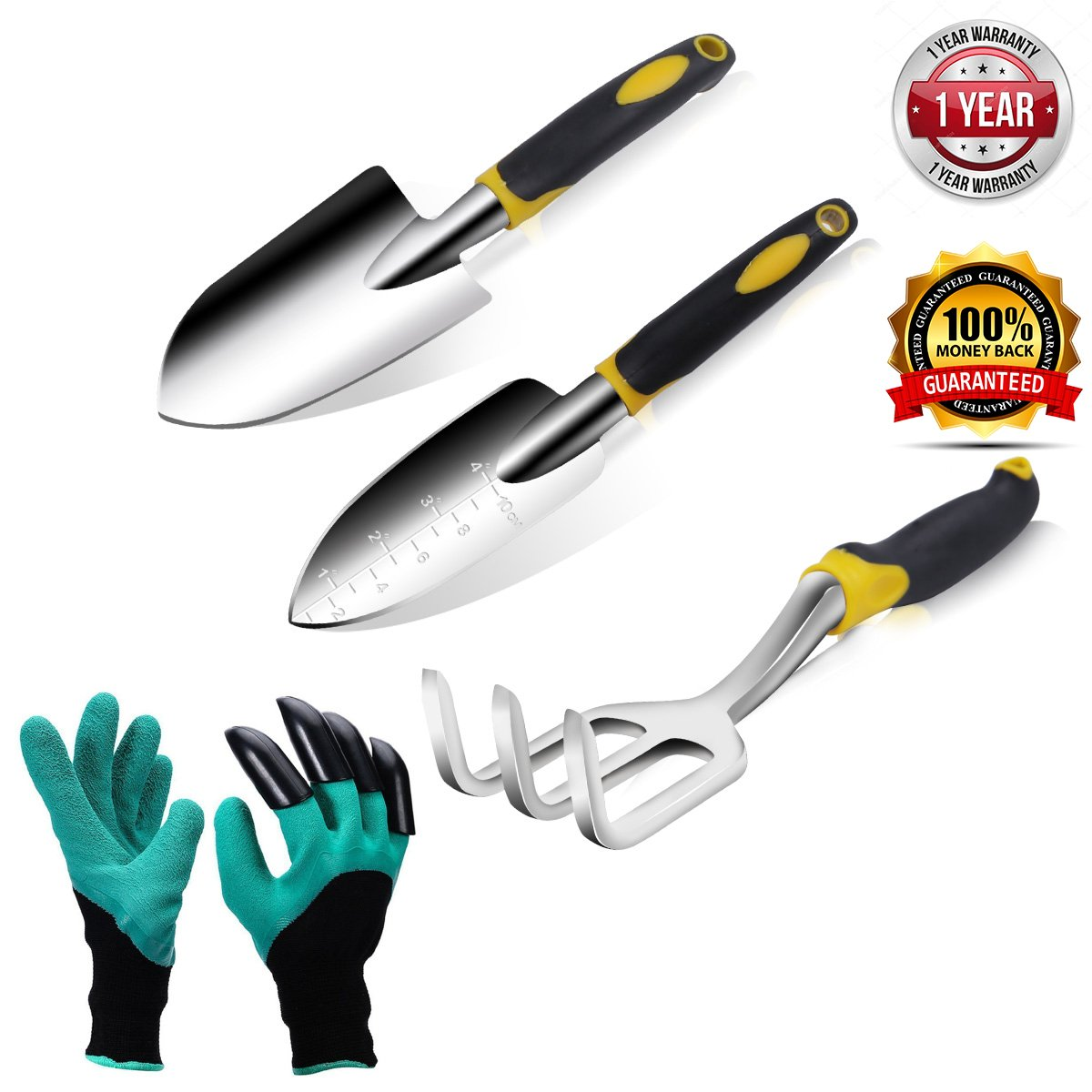 OLD WOOD Garden Tools Set and Garden Gloves with Claws for Women and Men Garden Hand Tools Gardening Tool Kit includes Trowel, Transplant Trowel and Cultivator Garden Gift Ideas