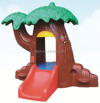 Cheap Indoor Outdoor Tree Plastic House with Slide(S1245-4)