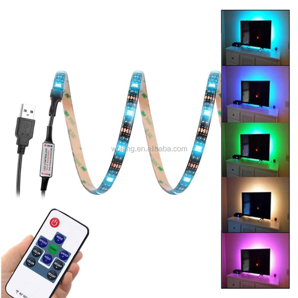 USB Led Strip Lights 5V 5050 RGB Waterproof Black Strip Light (2M) 60leds Flexible Tape Light with RF Remote Controller f