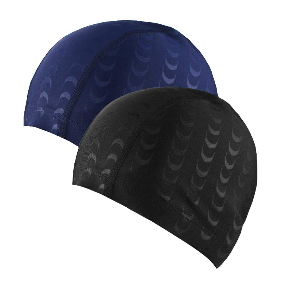f800bbed154 Get Quotations · LIKEOUT 2-Pack Black & Blue Stylish Adult Swimming Caps,  Ultra-stretchy Breathable