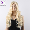 Fashion Blonde Russian Long Water Wave Hair Synthetic Halloween Wigs For Lady