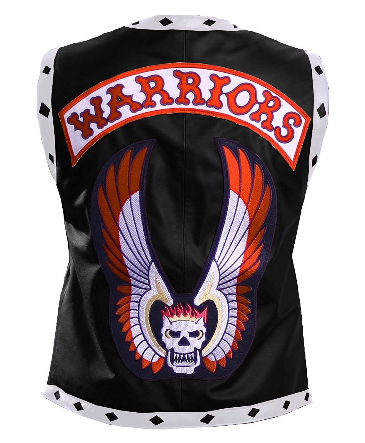 Herts Leather Warrior Mens Style Real Leather HQ Vest In Black With White Striped Pattern