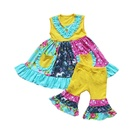 Children Capri Summer Set Girl Panels Press Colorful Pattern Ruffled Clothes