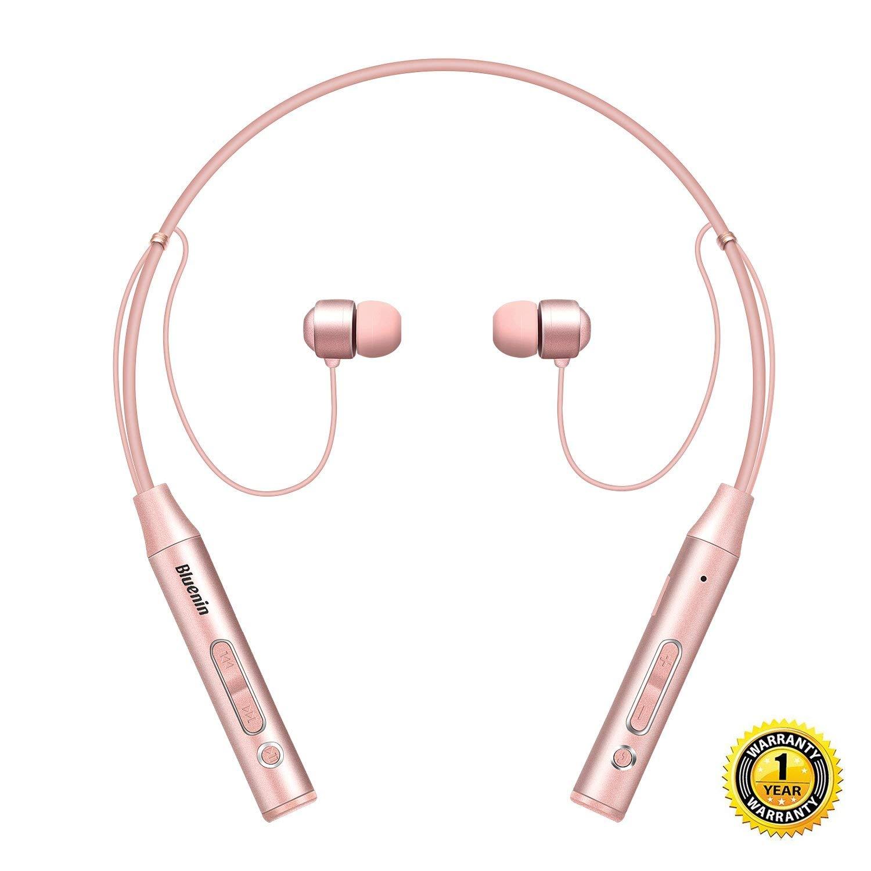 545a8b17d4f Get Quotations · Bluetooth Headphones Bluenin Wireless Headset Stereo  Neckband Sport Sweatproof Earbuds with Mic (10 Hours Play