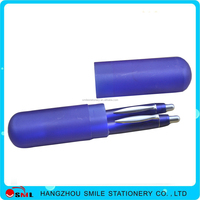 Gift plastic ball pen and pencil set two piece suit pen set in one box