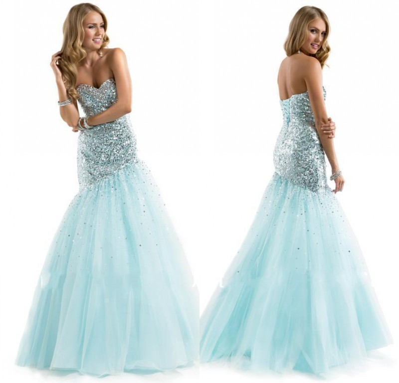 Stunning Beautiful Mint Green Prom Dresses 2015 Mermaid Tulle Evening Party Dress Sweetheart Full Beaded Bodice
