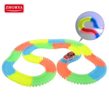 Zhorya newest update version plastic luminous twister tracks with glow in the dark car toy