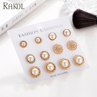 RAKOL New design fancy 6 pairs sets 24K gold plated pearl stud earrings for women ear stud SE012