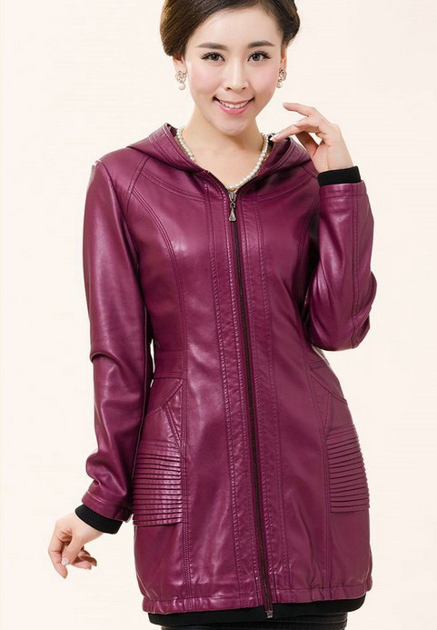 Leather clothing female 2015 spring and autumn coat women slim medium-long leather coat ladies outerwear leather jacket women