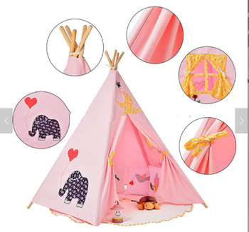 5 Poles Indian Play Cotton Canvas Kids Pink Teepee Toys Tent