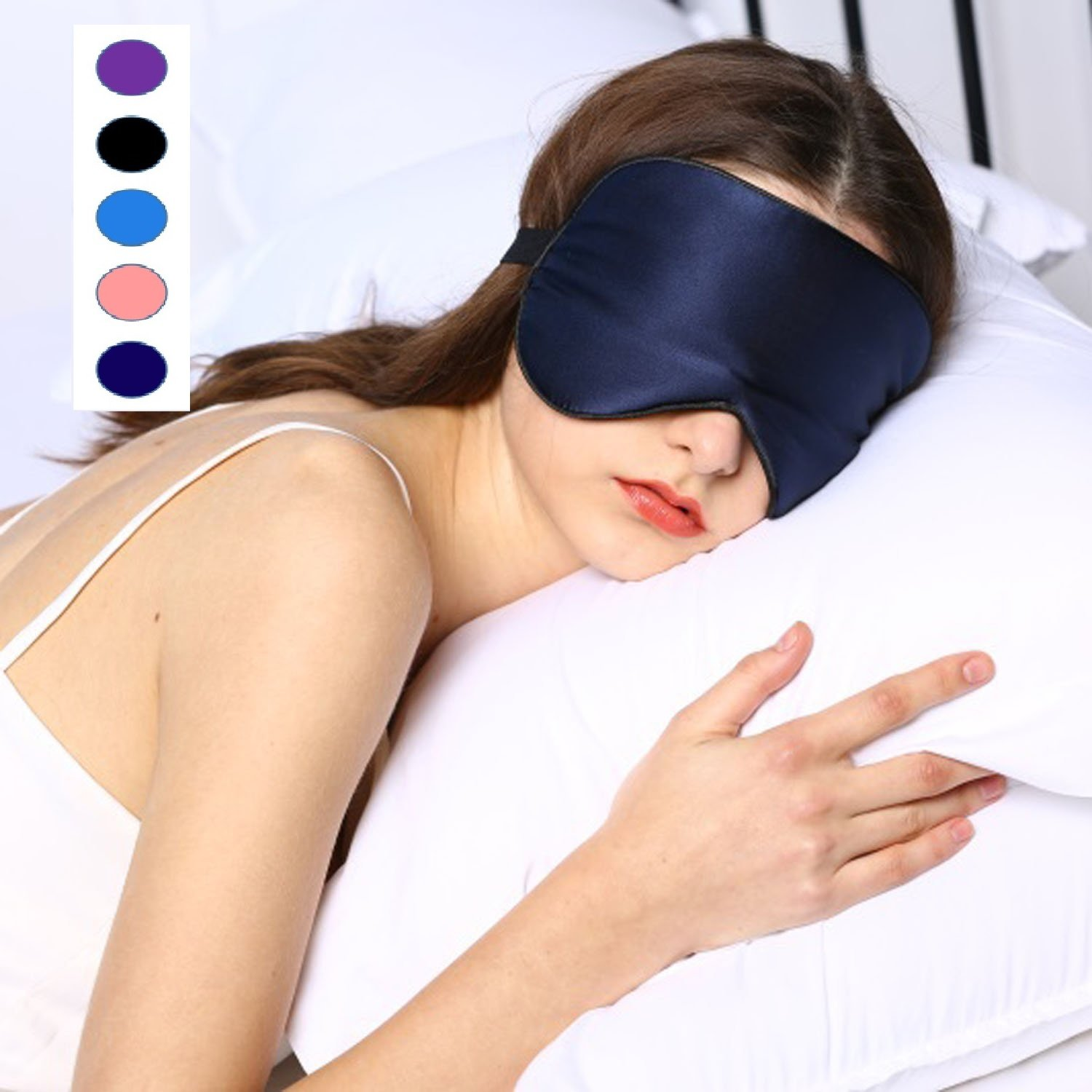 Silk Sleep Mask & Blindfold, Soft Eye Mask with Adjustable Head Strap, Deep Rest Eye Masks for Sleeping Night Eyeshade, Eye Cover for Travel, Shift Work & Meditation (Navy blue)