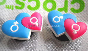 high level bule and red cut loving heart mode 2D shoes charm