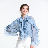 Summer fall 2019 Women's Clothes White Sweet fold Lotus Leaf Edge Pleated fold High End Loose Shirt Top with Suspender