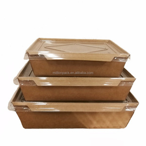 39MM Disposable food packing customized printing kraft eco-friendly take away paper salad box