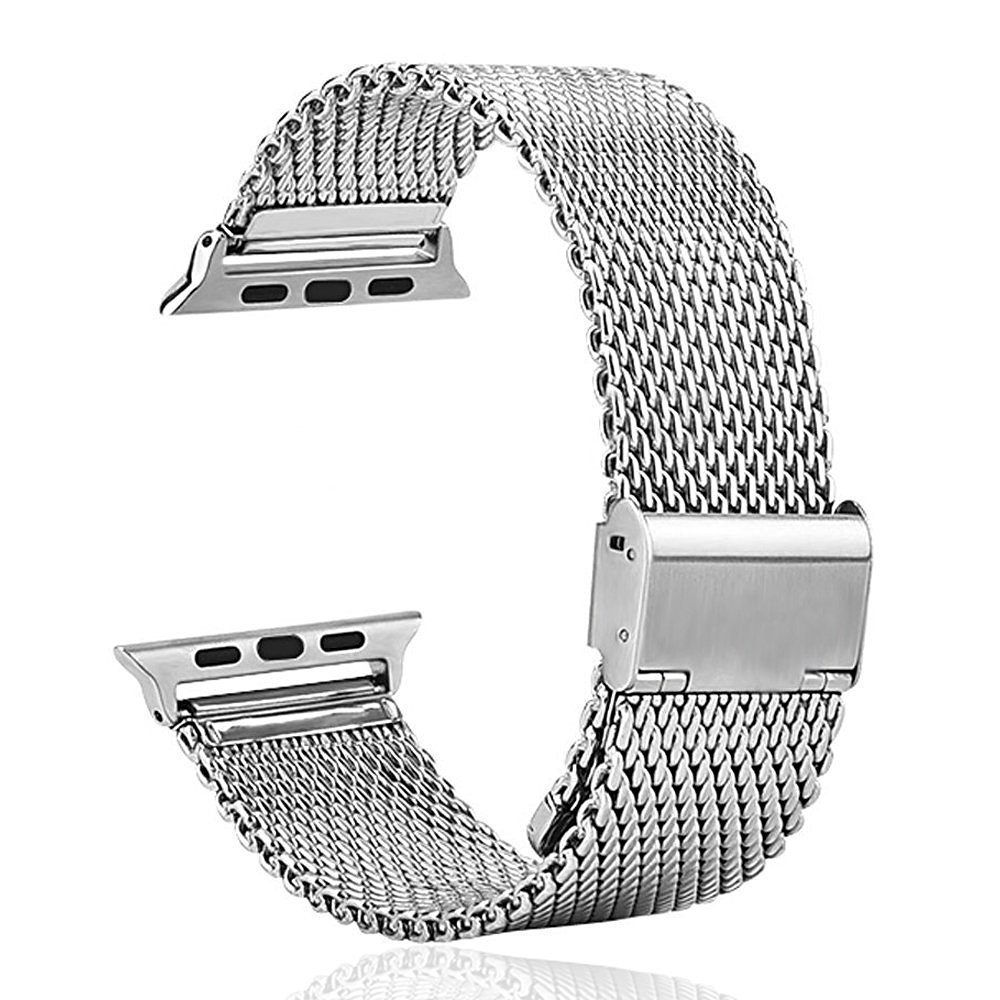 Apple Watch Strap,Mydeal 24mm Stainless Steel Bracelet Metal Smart Watch Band Strap For Apple Watch iWatch 42mm With Silver Metal Adapter Clasp,Milanese Loop Stainless Steel Mesh Replacement Buckle Strap Wrist Band for Apple Watch & Sport & Edition 42mm (Silver)
