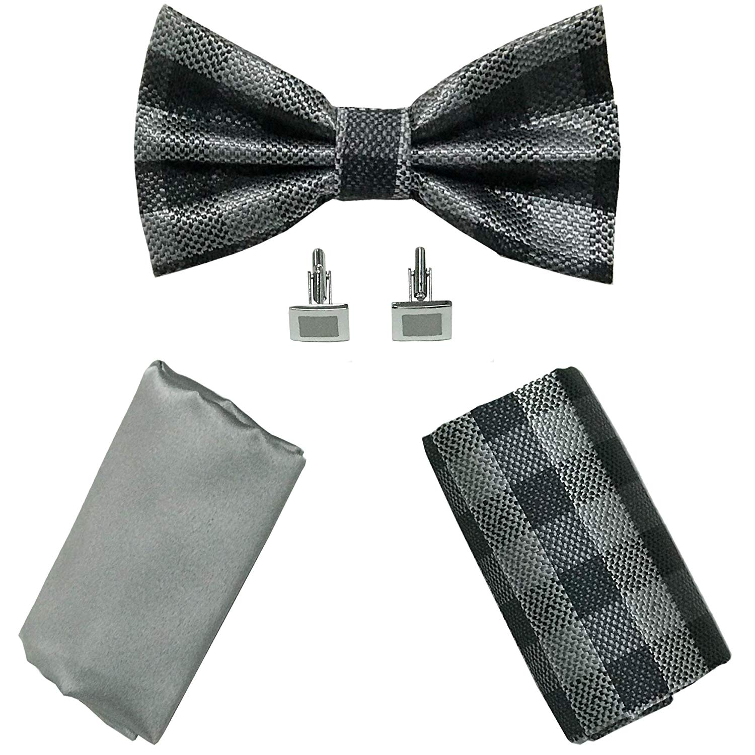 dc902f01be68 Get Quotations · PRE-TIED CHECK PLAID BOW TIE + 2 Pocket Square Hanky & 1  Cufflinks Tuxedo