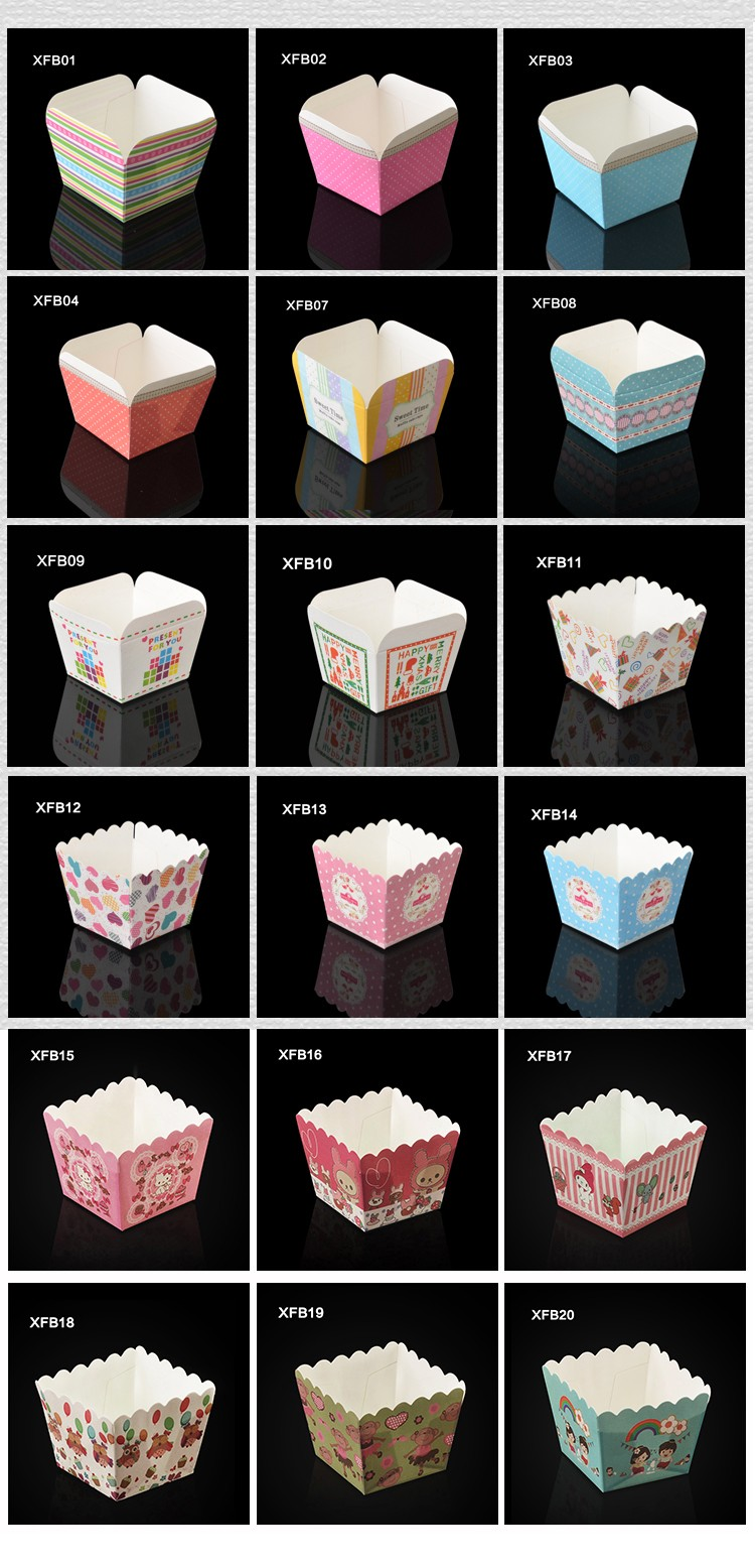 BAKEST new square shape cupcake wrappers with girl pattern hot sale baking tools