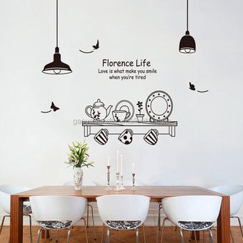 Lichter Und Kaffeetasse Shop Wandtattoos Home Dekorationen Küche Zimmer  Abnehmbare Vinyl Wandkunst Diy Dekorative Aufkleber - Buy Lichter Und ...