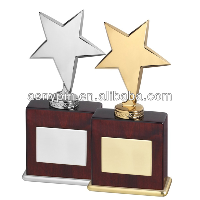 Star Motion Metal Trophies with Custom Engraving Plate