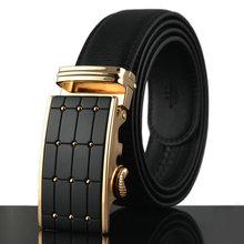 2015 men's genuine leather belt business line buckle belts for men