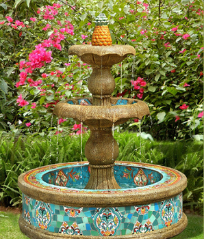 Three Layer Round Fountain, Ceramics Mosaic Large Fountain, Outdoor Garden  Fish Pond Fountain (