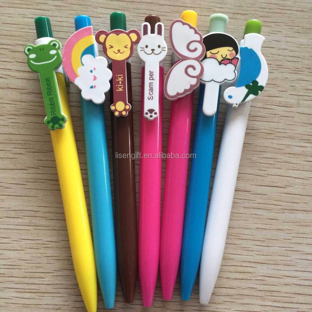 low price funnzy cartoon Custom Mold Clip Pens