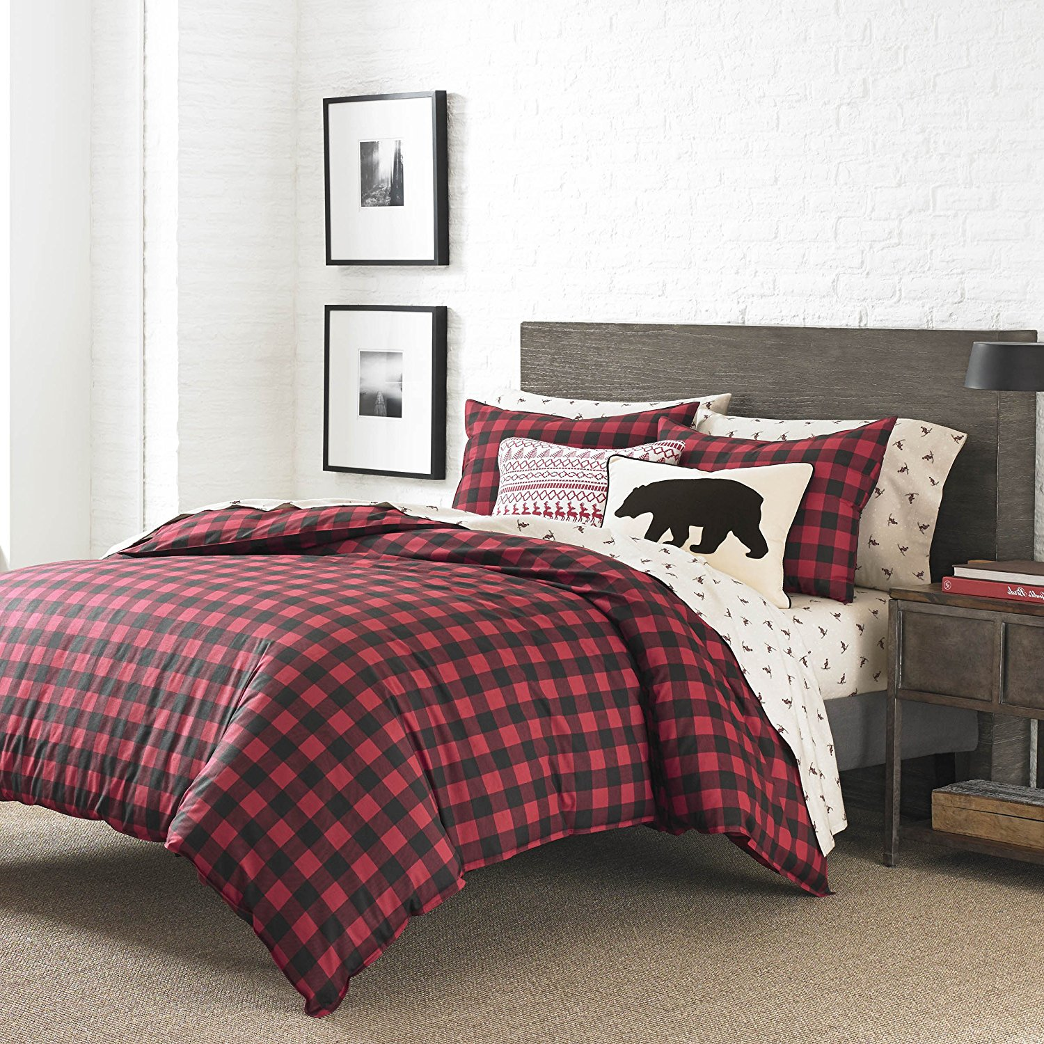 3 Piece Black Red Plaid Comforter Full Queen Set, Cabin Themed Bedding Checked Lumberjack Pattern Lodge Southwest Tartan Madras Crisscross Squares Hunting, Percale Cotton