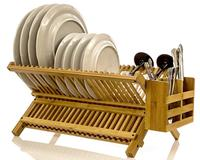 Folding Bamboo Drainer Dish Rack With Utensil Flatware Holder